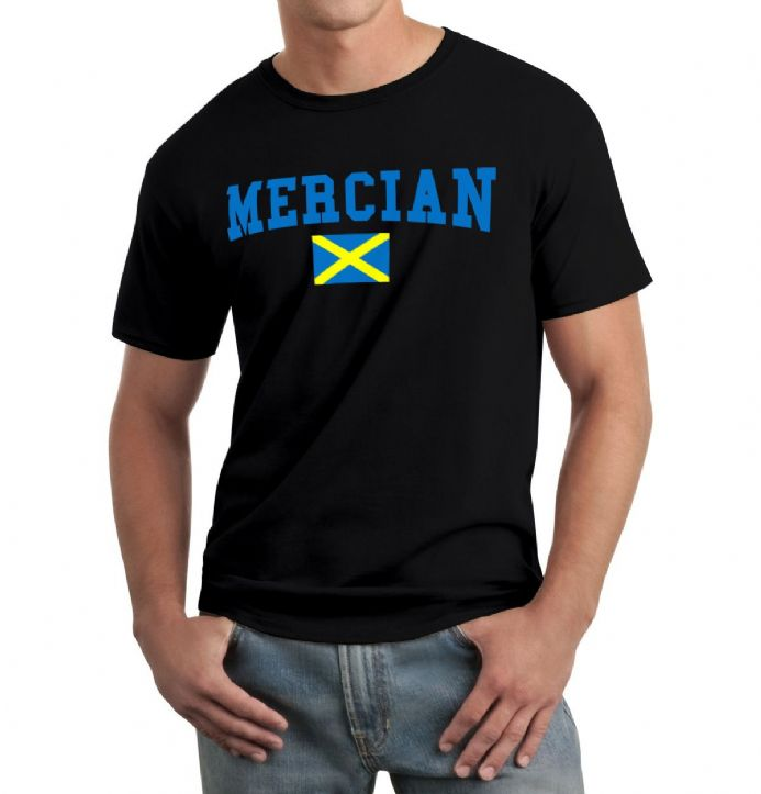 Mercian T-shirt in black with the flag of Mercia design
